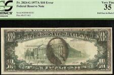 1977A $10 Dollar Dark 100% Offset Printing Print Error Note Paper Money Pcgs 35
