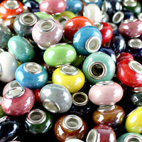 Lots Ceramic Rondelle Silver Big Hole Spacer Charm Beads for European Bracelet