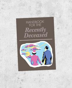 """Beetlejuice Sticker! """"Handbook for the Recently Deceased"""" tim burton, prop, jour"""