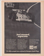 1972 JOE LEONARD @ CALIFORINA 500 / FORMULA RACING - ORIGINAL CHAMPION PRINT AD