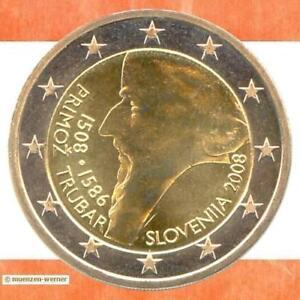 Sondermünzen Slowenien: 2 Euro Münze 2008 Trubar Sondermünze zwei€ Gedenkmünze