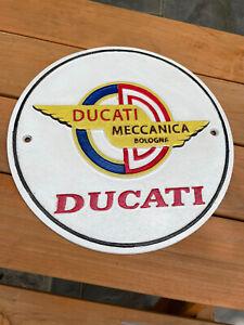 Cast Iron Ducati Bologna Sign Motorbike Home Bar Garage Mancave Wall Display