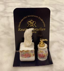 Reutter Porcelain Miniatures VICTORIAN SOAP DISPENSER & TISSUE SET 1:12 Scale
