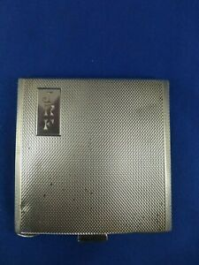 Vintage Sterling Silver powder compact. Square. Engine turned top.