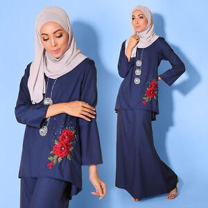 New Modest Women Muslimah LongSleeve Kurung Embroidery PlusSize Oxford Navy Blue