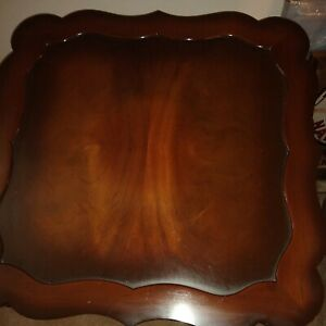 Vintage Wooden Rectangular Coffee Table And 2 square End Tables claw feet unique