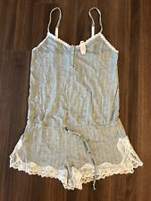 NEW: Victoria Secret Grey Super Soft Ruffle Contrast Color Lace Romper
