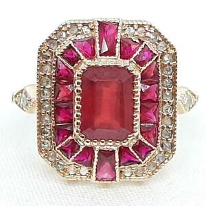 Antique 14K Rose Gold 2.10ctw Ruby French Cut & G/H-SI Old Cut Diamond Ring