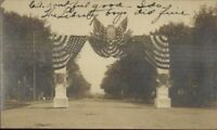 Liberty NY Patriotic Welcome Arch c1905 Real Photo Postcard