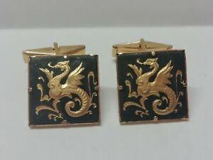 Pair of Vintage Damascene Black Dragon Gold Tone Square Cufflinks