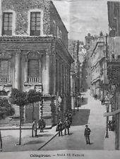 stampa antica old print SICILIA CALTAGIRONE SCALA EX MATRICE 1889