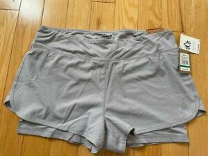 $45 Reebok Women's Intensity 2-1 Shorts, Sz XL, Silver Gray, Free Ship, NEW