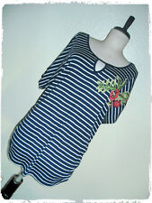 Espresso Navy & White Striped Floral Embroidered Soutache Ruched Blouse 3X