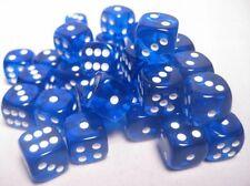 Set 36 d6 Dadi Chessex TRANSLUCENT BLUE white 23806 Dice Trasparente Blu