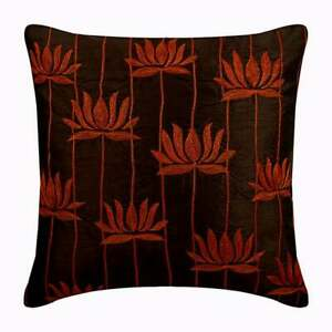 """Brown Cushion Pillow Cover 18""""x18"""" Decorative, Silk Lotus Art Deco - Red Lotuses"""