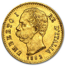 Italy Gold 20 Lire Coin - Random Year - Average Circulated - SKU #32687