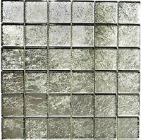 Glasmosaik silber Struktur Fliesenspiegel Küchenrückwand 123-8SB26