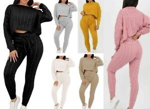 Ladies Cable knitted Top & Jogger 2 Pcs Women Lounge Wear Baggy Casual Suit Set