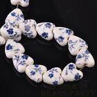 10pcs 14mm Heart Geramic Loose Spacer Beads Jewerly Making Deep Blue Flower
