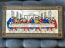 Vintage Handmade Last Supper Wall Hanging Mother of Pearl & Wood Inlay