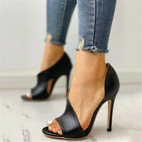 High Stilletto Heels Sandals Women Fish Mouth BLACK Pu Leather Party Shoes Sexy