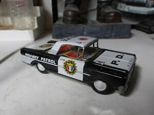 Vintage- Original 1960's SHUDO Ford Highway Patrol Tin Friction Police Car Japan