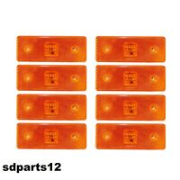 8x Luci 4 Led Ingombro Laterale Arancio 12v 12 Volt Caravan Rimorchio Van Atv