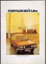 CHRYSLER 180 & 2-litri 1977-78 UK Opuscolo Vendite sul mercato