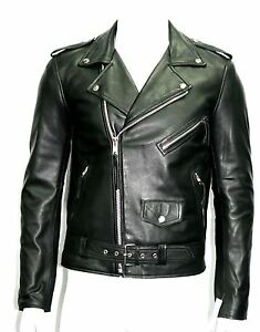BRANDO SLIM FIT Men's Black Designer Fitted Real Lambskin Leather Biker Jacket