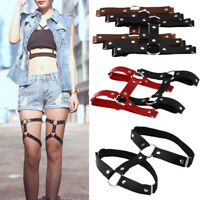 JN_ Stockings Harness Garter Belt Suspenders Leg Ring Faux Leather Punk Gothic