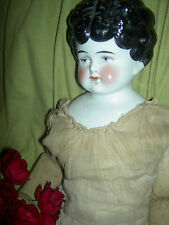 "Lovely 19"", antique German, brunette china doll w/turned head & old cloth body"