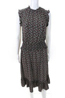 Michael Michael Kors Womens Smocked A-Line Ruffled Dress Black Floral Size Small