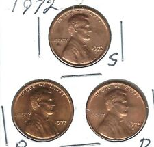 1972-D-P-S Three Uncirculated Lincoln Cent Coins!