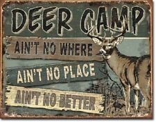 Deer Camp Hunters Retreat Gun Club Hunting Cabin Wall Decor Metal Tin Sign New