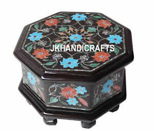 "4.5"" Belgium Marble Real Jewelry Box Turquoise Gems Mosaic Inlaid Work Decor"