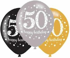 """50th Birthday 11"""" Latex Balloons Black Silver Gold Pack of 6"""
