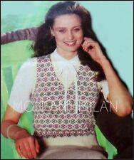 Vintage Knitting Pattern • Ladies Fair Isle Tank Top Sweater • Slip-Over Top