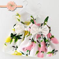 New Baby Girls Lemon Printed Dress Clothes Sleeveless Princess Gallus Dress