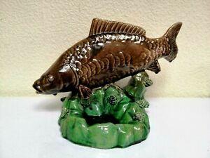 Vintage USSR Large Ceramic Carp Koi Fish Figurine  Art Statue Fishing Decor. Rar