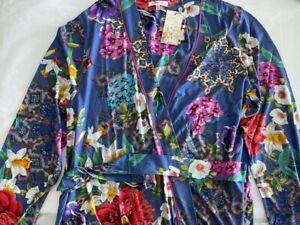 Johnny Was SUNRISE BLUE Sleep Wear Robe LARGE Night Cotton Lounge Flower L NEW