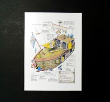 Simon Drew Print Boats Boating Signed Entertaining Art Large Fun Nautical Terms