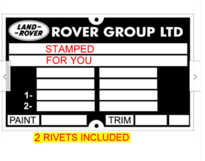 Land Range Rover & Discovery ID Chassis all-blank-vin-chassis-plates + 2 rivets