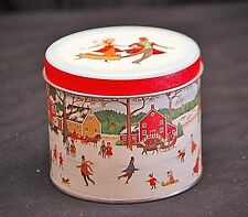 Old Vintage Advertising Ad Ice Skating Scene Round Litho Tin Can Container w Lid