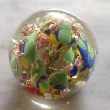 Vintage Round Paperweight Blue Yellow Green Metallic Orange