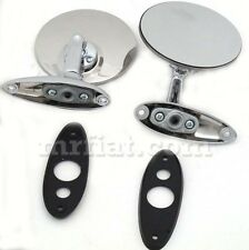 Fiat 124 Side View Mirror Set Flat Bolted Set New