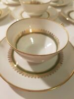 CH Field Haviland Limoges France~8 Teacups & 8 Saucers Beautiful Green&Gold Trim