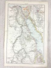 1898 Antique Map of Egypt Cairo Khartoum The Red Sea Original 19th Century