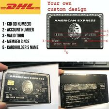 Custom Metal American Express Centurion AMEX Black Card w/ magnetic strip chip