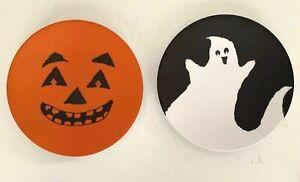 2 Pottery Barn Kids Halloween Melamine Plates Pumpkin Jack O'Lantern & Ghost