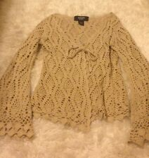 Express Hand knit Crochet Knit Top Blouse Cardigan Cream Hippy Boho Size XS